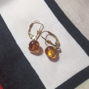 Jewelry - 14K Yellow gold drop earrings with Amber stone